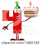 Clipart Of A Red Number Four Mascot Character Holding A Birthday Cake Royalty Free Vector Illustration by Hit Toon