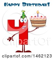 Clipart Of A Red Number Four Mascot Character Holding A Birthday Cake Under Text Royalty Free Vector Illustration
