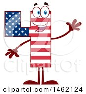 Clipart Of A Patriotic American Flag Patterned Number Four Mascot Character Waving Royalty Free Vector Illustration by Hit Toon