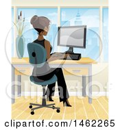 Clipart Of An African American Business Woman Working On A Computer In Her City Office Royalty Free Vector Illustration by Amanda Kate #COLLC1462265-0177