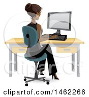 Clipart Of An African American Business Woman Working On A Computer At Her Office Desk Royalty Free Vector Illustration