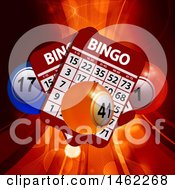 3d Bingo Cards And Balls Over Rays And Flares