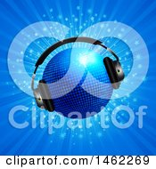 Clipart Of A 3d Blue Disco Ball With Headpones Over A Blue Burst Royalty Free Vector Illustration