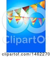Clipart Of Party Bunting Banners Over A Blue Sky Royalty Free Vector Illustration