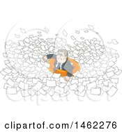 Clipart Of A Stressed White Business Man In An Inner Tube Floating In Paperwork Royalty Free Vector Illustration