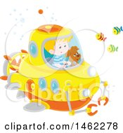 Clipart Of A Happy Dog And Caucasian Boy Exploring Underwater In A Submersible Royalty Free Vector Illustration