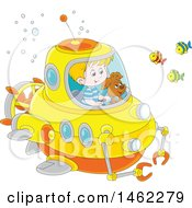 Clipart Of A Happy Dog And White Boy Exploring Underwater In A Submersible Royalty Free Vector Illustration