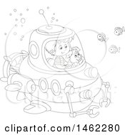 Clipart Of A Black And White Happy Dog And Boy Exploring Underwater In A Submersible Royalty Free Vector Illustration