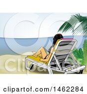 Poster, Art Print Of Woman Relaxing On A Beach Chair