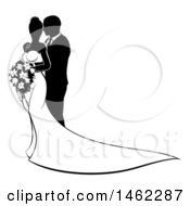 Clipart Of A Black And White Silhouetted Posing Wedding Bride And Groom Royalty Free Vector Illustration by AtStockIllustration