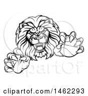 Poster, Art Print Of Tough Male Lion Mascot Holding A Basketball