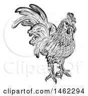 Rooster Chicken Black And White Woodcut Style