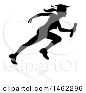 Clipart Of A Black Silhouetted Female Graduate Running A Race With A Shadow Royalty Free Vector Illustration