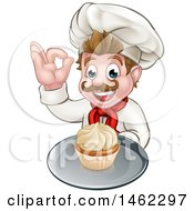 Clipart Of A Cartoon Happy White Male Chef Baker Gesturing Ok And Holding A Cupcake On A Tray Royalty Free Vector Illustration by AtStockIllustration