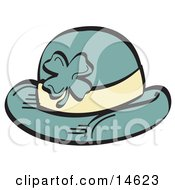 Green St Paddys Day Hat With A Clover On It Clipart Illustration by Andy Nortnik