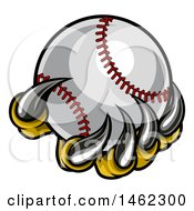 Clipart Of Monster Or Eagle Claws Holding A Baseball Royalty Free Vector Illustration