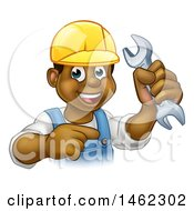 Clipart Of A Cartoon Happy Black Male Mechanic Holding Up A Wrench And Pointing Royalty Free Vector Illustration