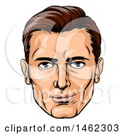 Clipart Of A Caucasian Mans Face In Comic Pop Art Style Royalty Free Vector Illustration