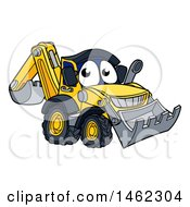 Cartoon Digger Bulldozer Mascot