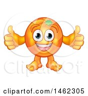 Clipart Of A Cartoon Happy Orange Mascot Character Giving Two Thumbs Up Royalty Free Vector Illustration