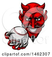 Grinning Evil Red Devil Holding Out A Baseball In A Clawed Hand