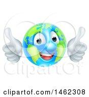 Poster, Art Print Of Happy Earth Globe Mascot Giving Two Thumbs Up