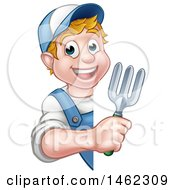 Clipart Of A Cartoon Happy White Male Gardener In Blue Holding A Garden Trowel Around A Sign Royalty Free Vector Illustration