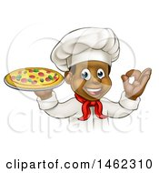 Clipart Of A Cartoon Happy Black Male Chef Gesturing Ok And Holding A Pizza Royalty Free Vector Illustration by AtStockIllustration