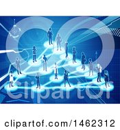 Clipart Of A Network Of Silhouetted People On A Blue Background Royalty Free Vector Illustration by AtStockIllustration