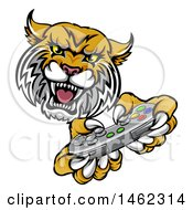 Clipart Of A Bobcat Mascot Playing A Video Game Royalty Free Vector Illustration by AtStockIllustration