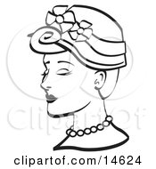 Pretty Young Woman Wearing A Hat With Flowers And A Pearl Necklace Black And White Clipart Illustration