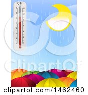 Clipart Of A Rainy Sky And Thermometer Over Umbrellas Royalty Free Vector Illustration by elaineitalia