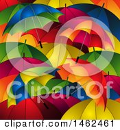 Clipart Of A Background Of Colorful Umbrellas Royalty Free Vector Illustration by elaineitalia
