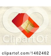 Clipart Of A Red And Gold Sim Card Over A Fabric Background Royalty Free Vector Illustration