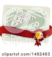 Clipart Of A Bingo Ball Ribbon On A Red Bow With Cards Royalty Free Vector Illustration by elaineitalia