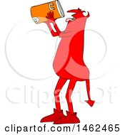 Clipart Of A Thirsty Chubby Red Devil Drinking From A Water Cooler Royalty Free Vector Illustration