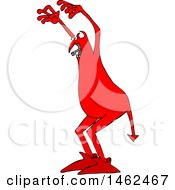 Clipart Of A Chubby Red Devil In A Scary Pose Royalty Free Vector Illustration by djart