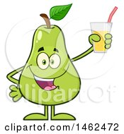 Clipart Of A Happy Pear Mascot Character Holding A Glass Of Juice Royalty Free Vector Illustration