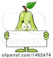 Happy Pear Mascot Character Holding A Blank Sign