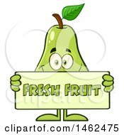 Clipart Of A Happy Pear Mascot Character Holding A Fresh Fruit Sign Royalty Free Vector Illustration