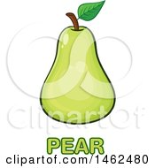 Clipart Of A Green Pear Over Text Royalty Free Vector Illustration