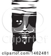 Mans Face With Bandages On His Forehead Black And White Woodcut