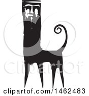 Clipart Of A Man Faced Cat Monster Black And White Woodcut Royalty Free Vector Illustration