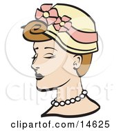 Pretty Young Woman Wearing A Hat With Flowers And A Pearl Necklace