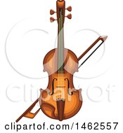 Clipart Of A Fiddle And Bow Royalty Free Vector Illustration by Vector Tradition SM
