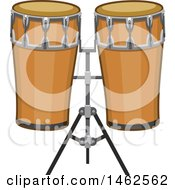 Clipart Of A Set Of Conga Drums Royalty Free Vector Illustration by Vector Tradition SM