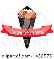 Clipart Of A Japanese Menu And Wrap Design Royalty Free Vector Illustration
