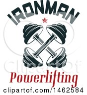 Clipart Of A Crossed Dumbbell And Ironman Text Design Royalty Free Vector Illustration by Vector Tradition SM