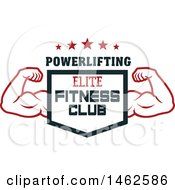 Clipart Of A Male Bodybuilders Arms And Shield Text Design Royalty Free Vector Illustration