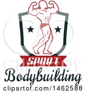 Clipart Of A Male Bodybuilder Posing Design Royalty Free Vector Illustration